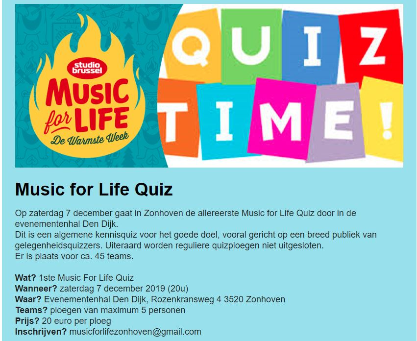 music for life quiz 2019